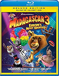 Madagascar 3:  Europe's Most Wanted (Three-Disc Blu-ray 3D / Blu-ray / DVD Combo + Digital Copy + UltraViolet)
