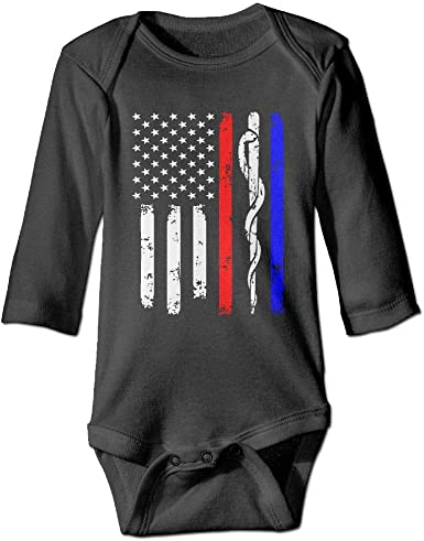 Police /& Firefighter /& EMT Flag Newborn Baby Bodysuit Long Sleeve Overalls Outfits Clothes Romper Jumpsuit for Baby Boy Girl