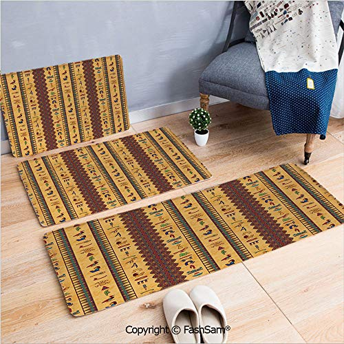 FashSam 3 Piece Non Slip Flannel Door Mat Ancient Hieroglyphs and Floral Geometric Ornament Border Aged Paper Style Backdrop Indoor Carpet for Bath Kitchen(W15.7xL23.6 by W19.6xL31.5 by W31.4xL47.2)