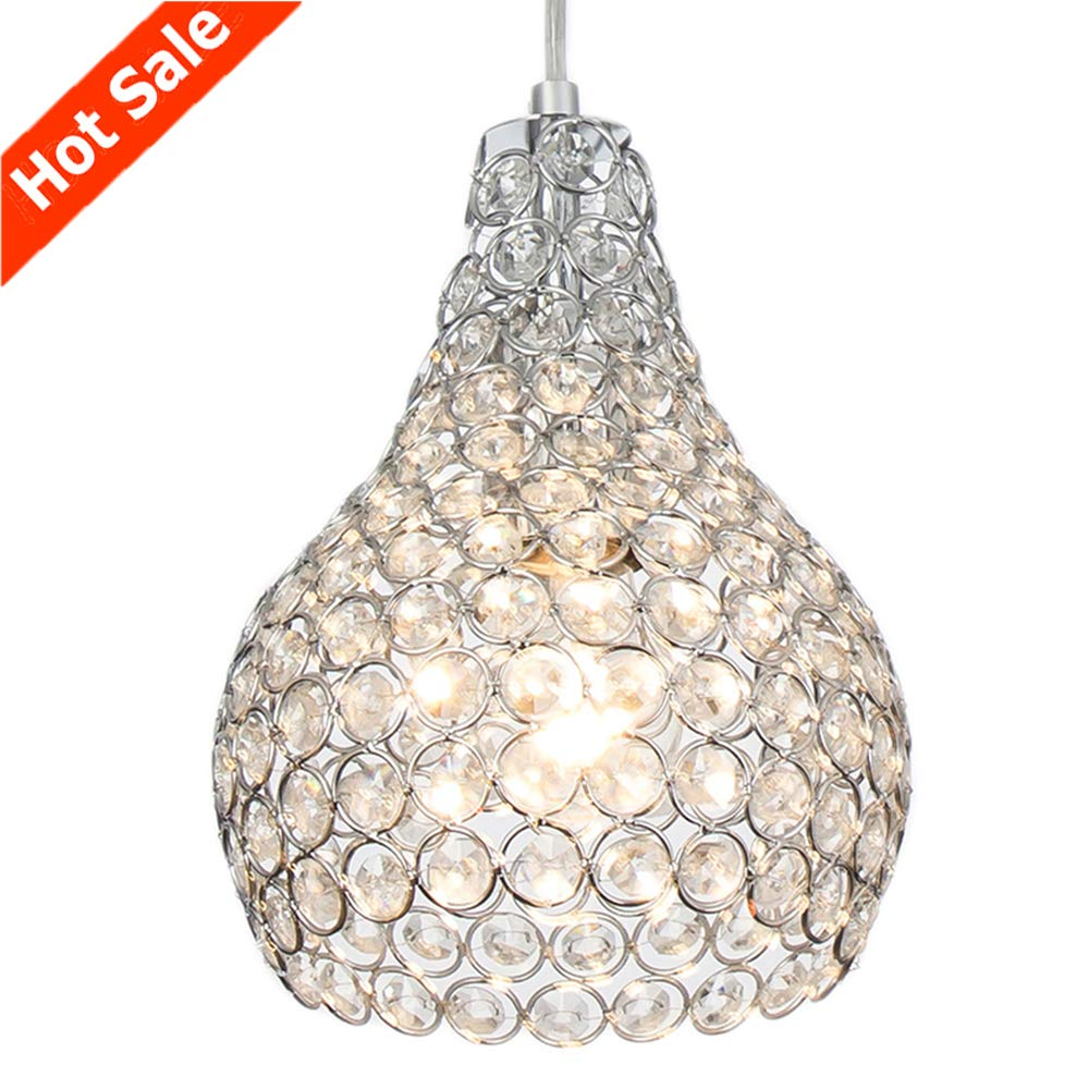 Popilion Ornate Chrome Crystal Ceiling Pendant Light,Adjustable Pendant Lighting with Crystal Lampshade for DinningRoom,Bedroom,Loft,Restaurant