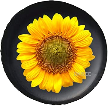 ATEDEANEI Spare Tire Cover Trailer RV Truck 16 Inch Dust Proof Waterproof Sunscreen Proof Sunflower