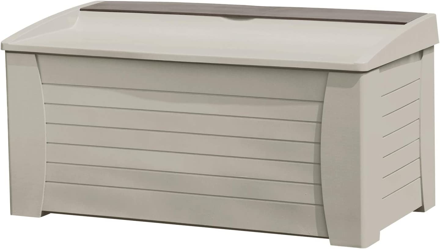 Suncast 127-Gallon Large Deck Box - Lightweight Resin Indoor/Outdoor Storage Container and Seat for Patio Cushions and Gardening Tools - Store Items on Patio, Garage, Yard - Taupe