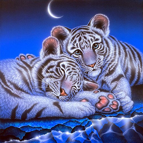 - Needlework 14ct Counted Cross Stitch Kits Animal Cute Little Tigers DMC Thread Cross Stitch Patterns Cross Stitch Fabric Needles Room Wall Decoration (Cute Little Tigers)