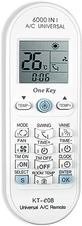 Hononjo Mando a Distancia Universal de Aire Acondicionado para la mayoría de los Ladrones de Aire Acondicionado A/C Toshiba Panasonic Sanyo Fujitsu KT-e08 6000 en 1 Serie One Key: Amazon.es: Hogar