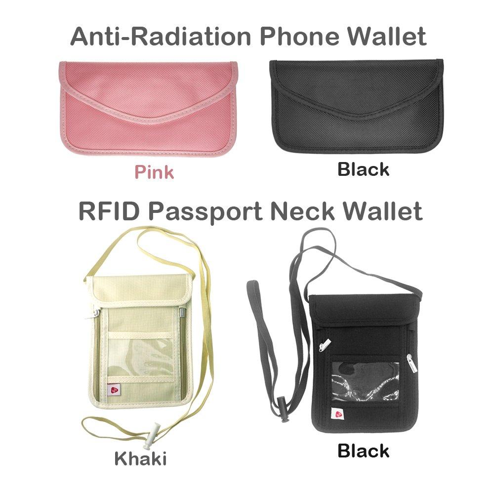 FoRapid RFID-Blocking Travel Passport Holder Neck Stash Pouch Wallet-Khaki