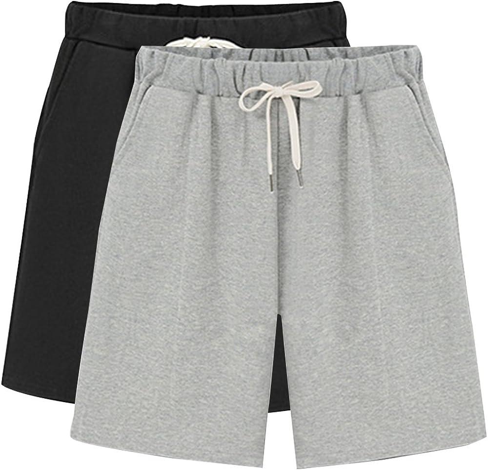 Raroauf Ladies Knee Length Elastic Waist Soft Knit Jersey Bermuda Shorts with Drawstring
