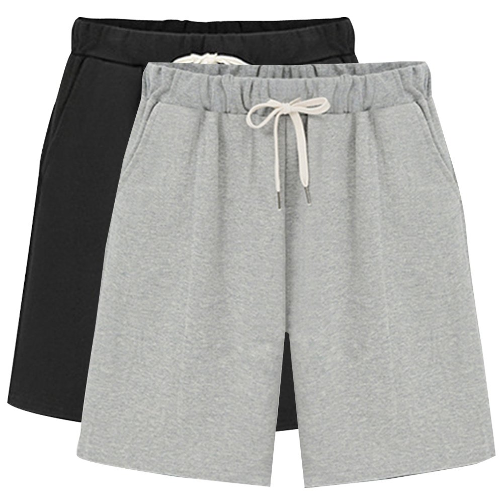 Women's Soft Knit Elastic Waist Jersey Bermuda Shorts with Drawstring 2 Pack Black+Grey Tag 3XL-US 12-14