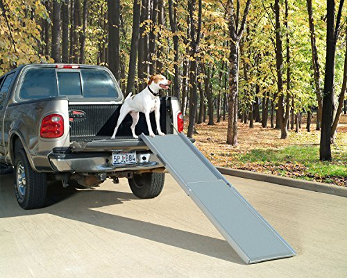 PetSafe Solvit Deluxe Extra-Long Telescoping Pet Ramp, Longer Length Dog Ramp for Steep Inclines (Pet Pickup)