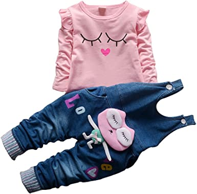2pcs Kids Baby clothes baby girls clothes cotton top+rompers jeans outfits owl