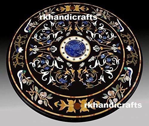 rkhandicrafts 48'' Diameter Black Marble Royal Dining Table Top Semi Precious Stone Inlay Unique Design