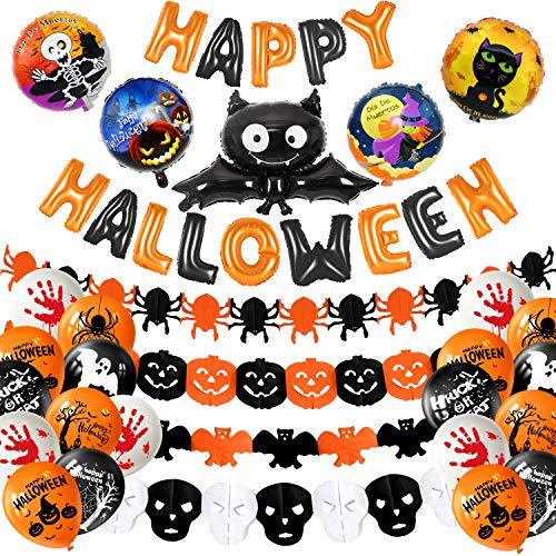 Halloween Set Decorations (MIAHART Halloween Party Decoration Set Happy Halloween Banner with 4 Pcs Spider, Bat, Pumpkin Ghost Foil Balloon 4 Pack Halloween Garland and 18 pcs Latex Balloon for Halloween Bar Home)