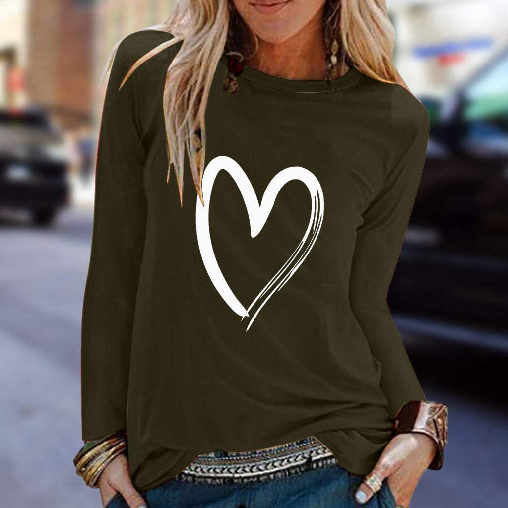 Quealent Tunics Tops for Women Womens Casual Long Sleeve Print Shirts Tunic Comfy Round Neck T Shirt Tops