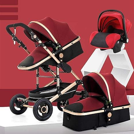 Opinión sobre OESFL Cochecito 3-en-1-convertible del cochecito de niño compacta silla de paseo sola, asiento for niños pequeños Niños Cochecito Cochecito Con Portavasos (Color : Red)