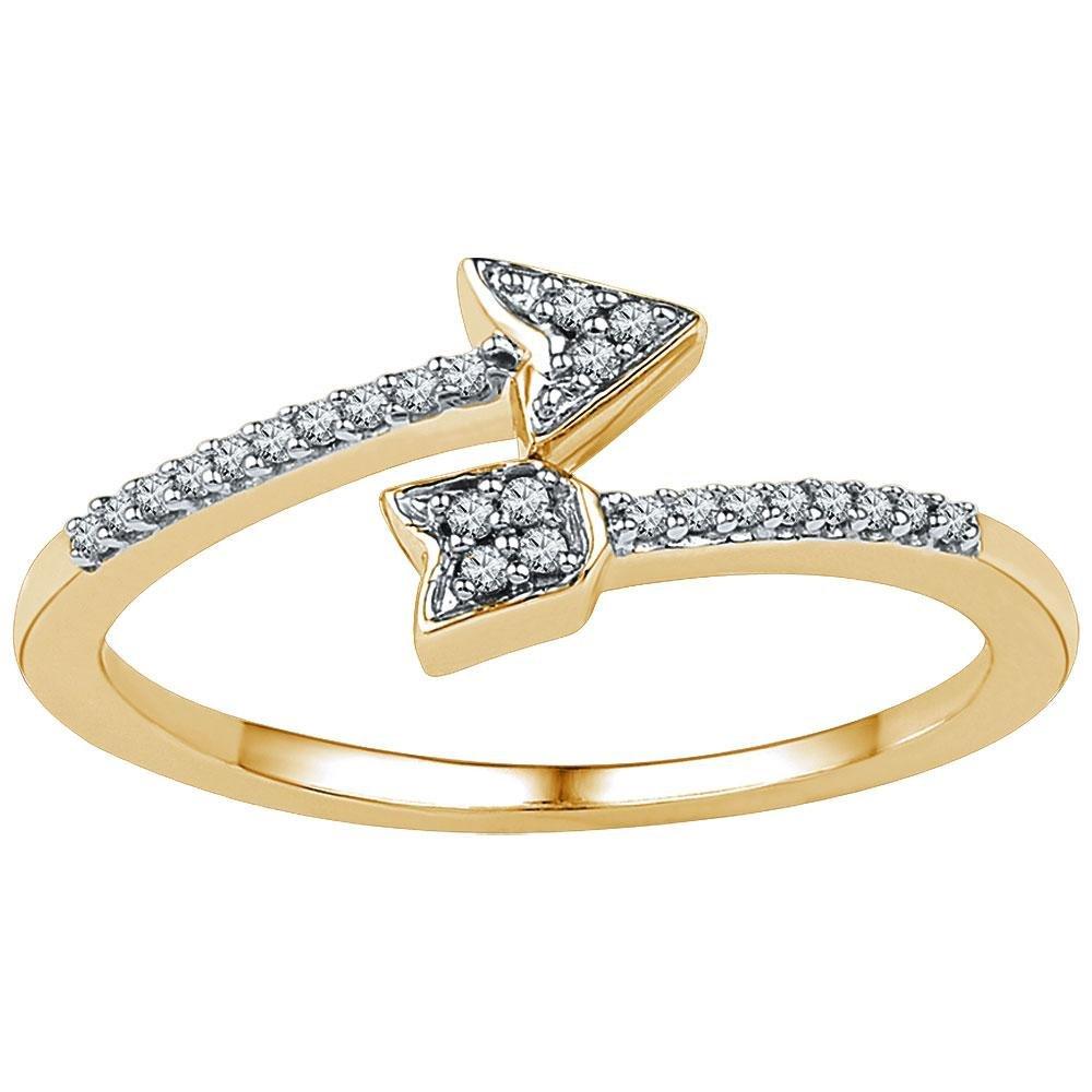 10k Yellow Gold Diamond Arrow Ring Fashion Band Round Pave Set Polished Finish Fancy 1/12 ctw Size 7.5