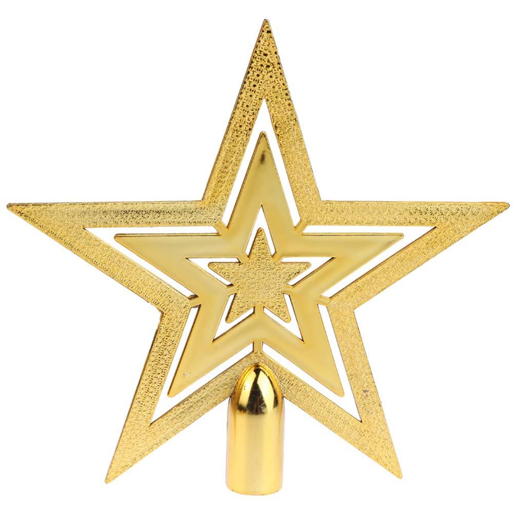 Kalaokei Outdoor Glitter Star Christmas Tree Topper Home Decor Xmas Ornaments Decoration Golden 10 cm