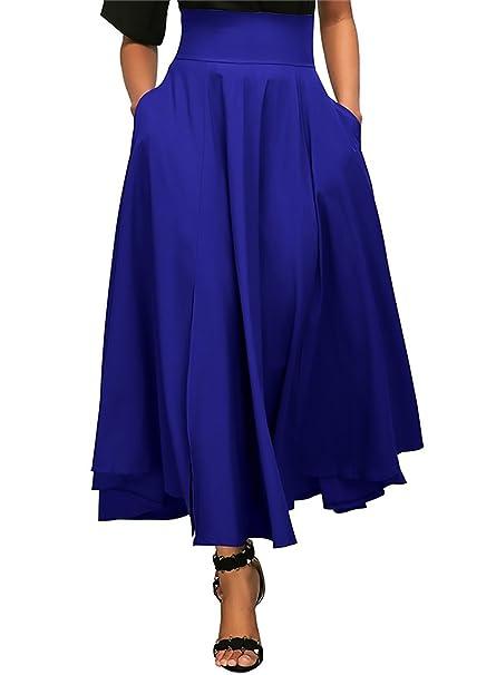 Mujer Faldas Largas Fiesta Coctel Vintage Elegantes Cintura Alta Una Línea Swing Falda Plisada Color Sólido
