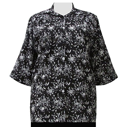 A Personal Touch Women's Plus Size Black & White Wildflowers 3/4 Sleeve Button-Down Blouse - 0X