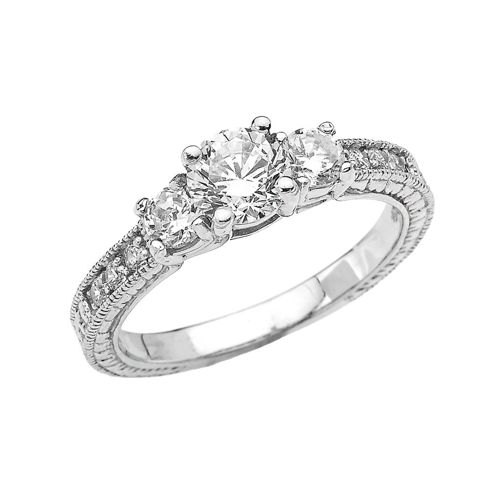Elegant 10k White Gold 2 Carat Total weight CZ Art Deco Engagement Ring (Size 6.5)