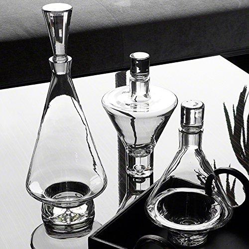 Luxe Up Down Wide Bottom Decanter Set 3 | European Art Glass Mid Century Modern (Glass Pyramid Decanter)
