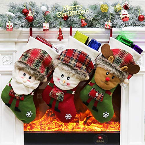 Aitey Christmas Big Stocking, 18 Xmas Stockings Set of 3 Character Santa, Snowman, Reindeer 3D Plush with Faux Fur Cuff Party Favor Supplies for Kids 2