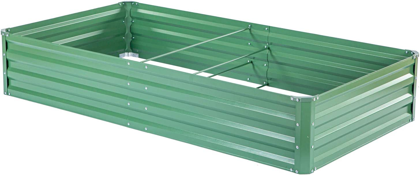 "zizin Metal Raised Garden Bed Outdoor Large Square Planter Box for Vegetables Flower Bed Kit, 68"" W x 35.4"" L"