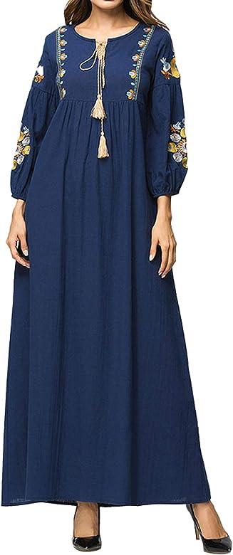 Qianliniuinc Abaya Femme Musulmane Robe Dubai Caftan Marocain Longue Arabe Coton Et Lin Bleu M Amazon Fr Vetements Et Accessoires