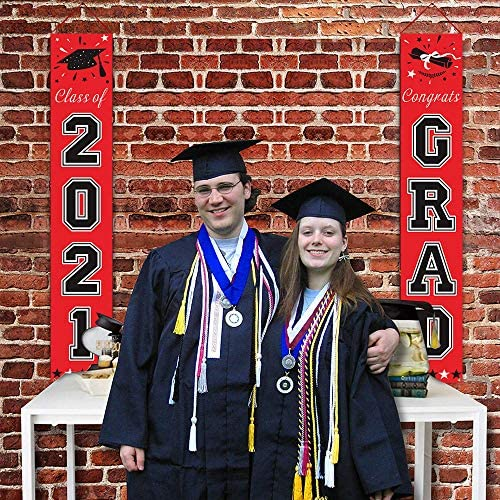 Class of 2021 Banner for Graduation Party Supplies - Red and Black Graduation Decorations 2021 - Graduation Porch Decor for Any Schools or Grades