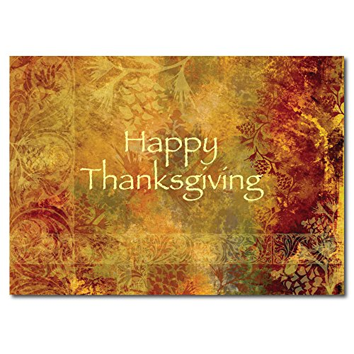 Thanksgiving Greeting Card TH1003. Fall foilage is the backdrop for this Happy Thanksgving message, suitable for personal or business use. Gold foil-lined envelopes.