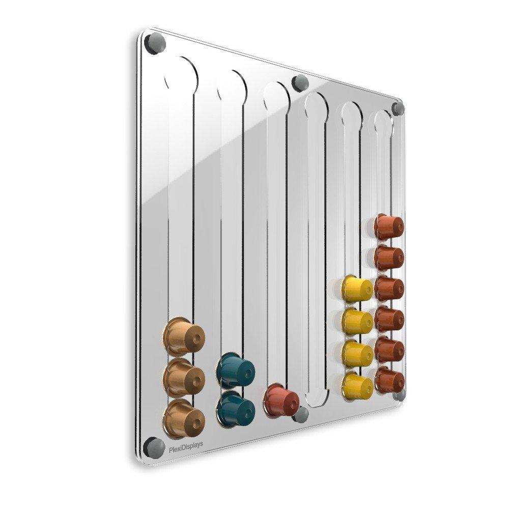 PlexiDisplays 143223 - Portacapsule Nespresso, design classico, colore: Trasparente