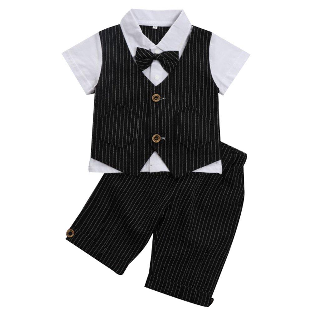 G-Kids Baby Jungen 2-Teiliges Strampler Smoking Gentleman Anzug Kurzarm Streifen Outfits Sommer Kleidung Jumpsuit Spielanzug Taufkleidung mitFliege