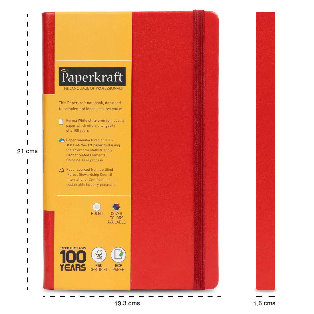 Paperkraft Notebook (Gift Pack) Red Cover and White Pages