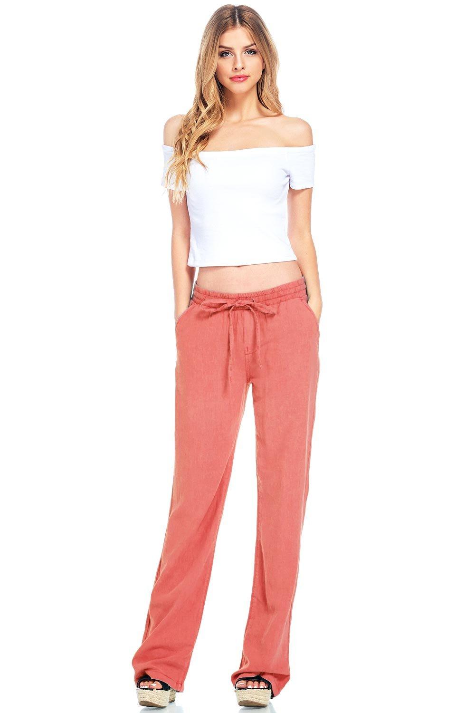Celebrity Pink Women's Wide Leg Linen Pants (M, Coral) by Celebrity Pink