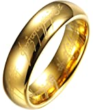 Lord Of The Rings Style 6MM High Polish Gold Plated Tungsten Carbide Wedding Band Ring Mens -TR9909