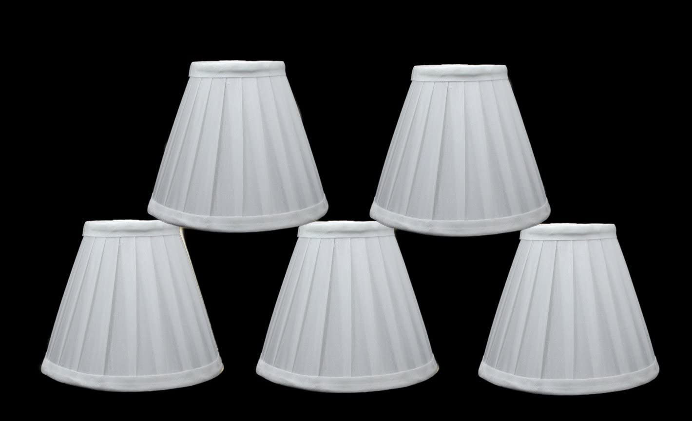 Urbanest Set of 5 Side Pleat Chandelier Lamp Shades, 6-inch, Off White, Clip On