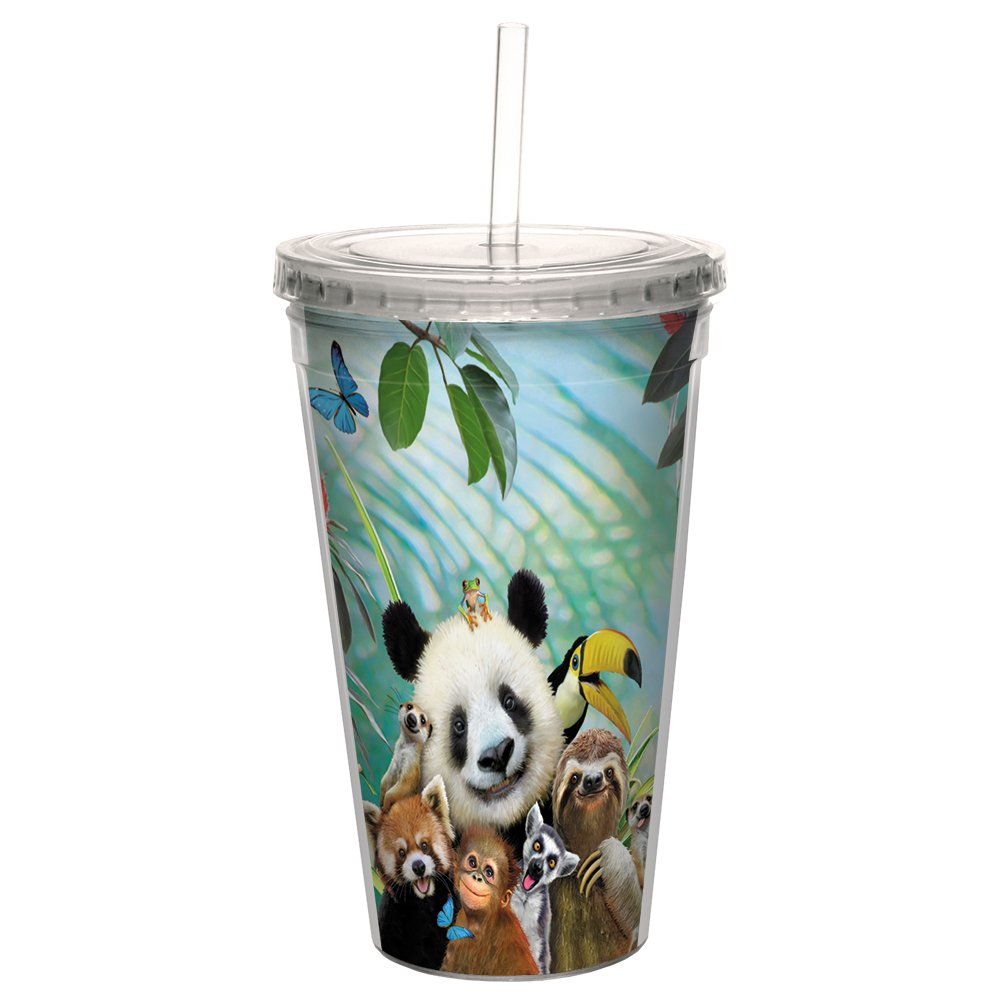 Tree-Free Greetings CC98901 Cool Cups, Double-Walled Pba Free with Straw and Lid Travel Insulated Tumbler, 16 Ounces, Zoo Selfie
