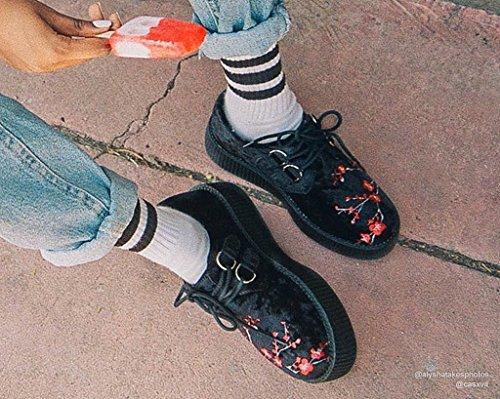 Féminin Velours Shoes Noir u T Grimpereau amp; k Élevé Seul Cerise Fleuriront WqtcItE