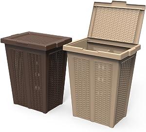 Practical Fixtures Rattan Plastic Closet Laundry Hamper (Brown)