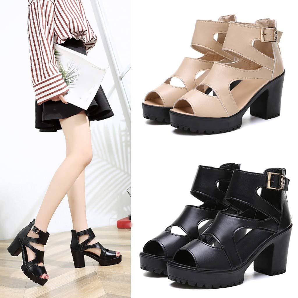Respctful✿Women Sandals Gladiator Ankle Strap Platform Block Heel Wooden Platform Dress Sandal Shoes