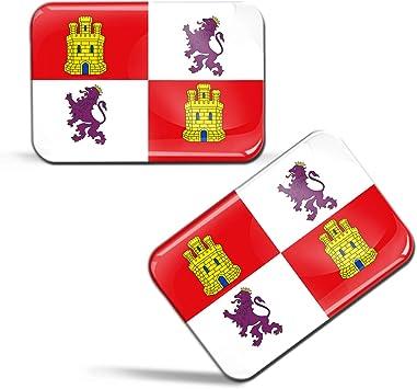Biomar Labs® 2 x 3D Gel Pegatinas Siliconas España Bandera de La Comunidad de Castilla y León Emblema Castellanoleonesa Español Stickers Spain Flag Adhesivos Auto Coche Moto Bicicleta Ordenador F 90: Amazon.es:
