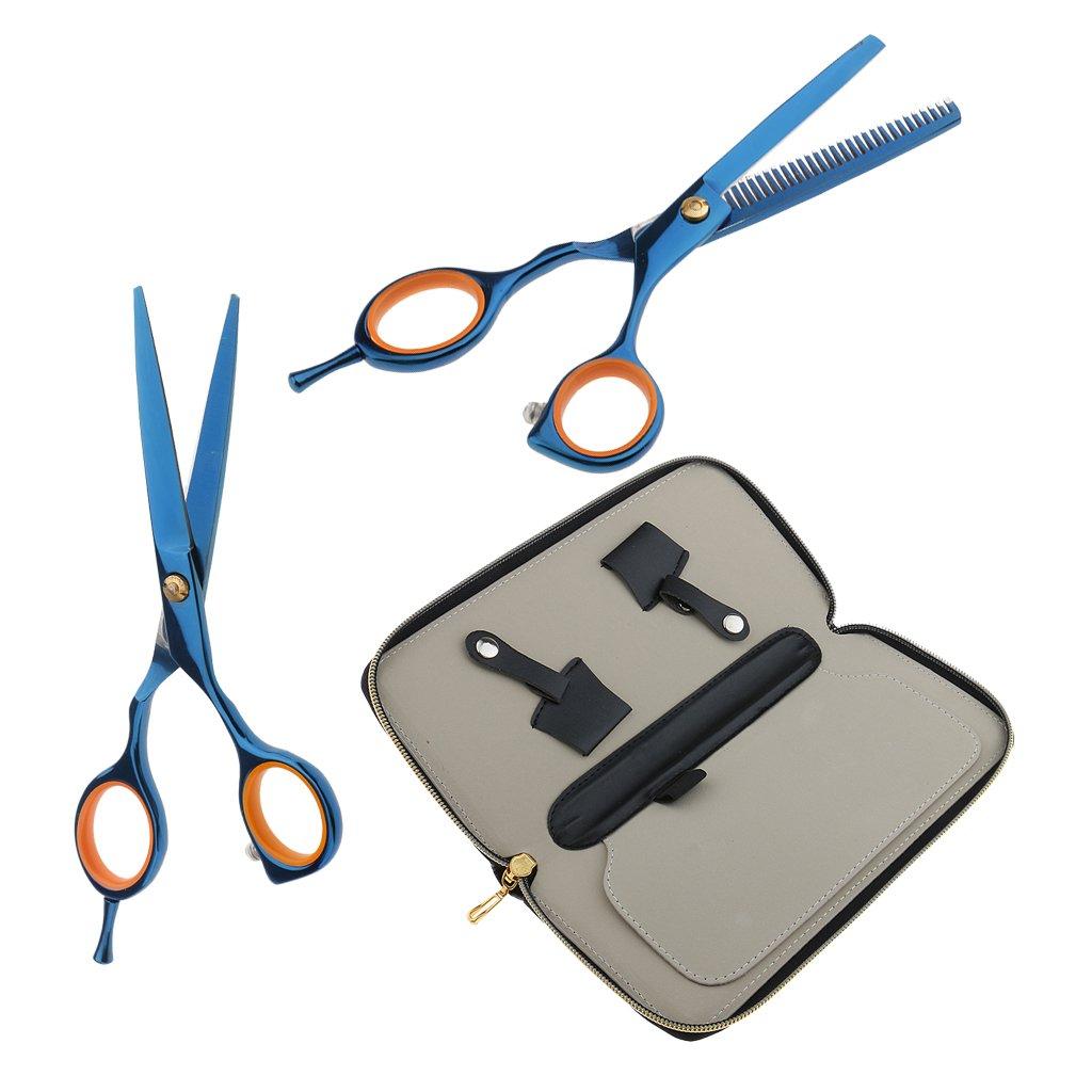 MagiDeal 5.5'' Barbiere Forbici Diradamento Parrucchiere per Taglio dei Capelli + Cesoie Diradamento + Fondina Custodia Holster