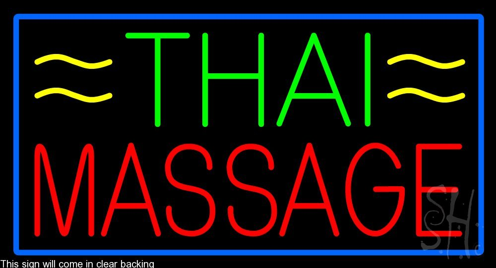 Thai Massage Clear Backing Neon Sign 20'' Tall x 37'' Wide by The Sign Store