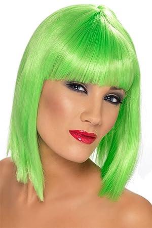 Smiffys Peluca glamurosa, verde neón, corta, despuntada con flequillo