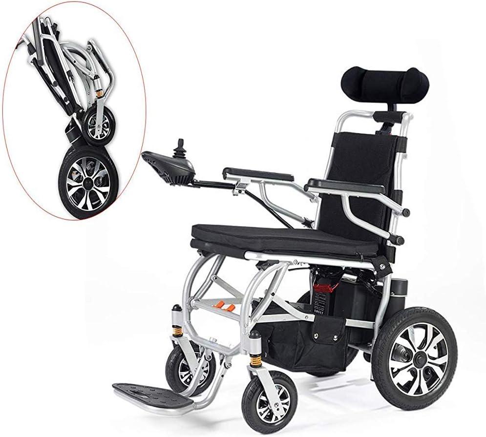 DLY Ancianos Discapacitados Ligero Plegable Llevar Sillas de Ruedas Eléctricas, Viaje Ligero Motorizado Scooter Eléctrico Silla de Ruedas Joystick 360 ° para Discapacitados Y Ancianos