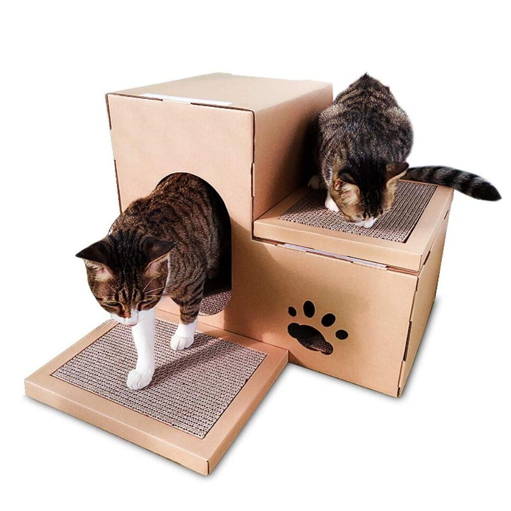 LSS DIY Cat House, Cat Scratch Board Climbing Frame Cats Claw Toy Corrugated Paper 2 Floors