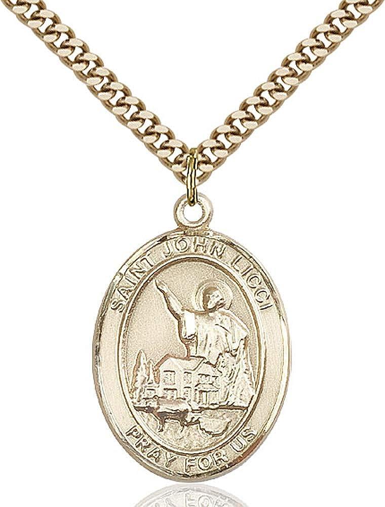 Gold Plate Heavy Curb Chain Patron Saint Head Injuries 1 x 3//4 14kt Gold Filled St John Licci Pendant