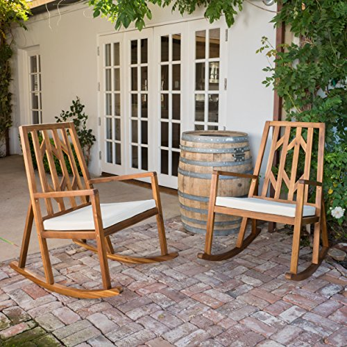 Monterey Outdoor Wood Rocking Chair with White Cushion set of 2
