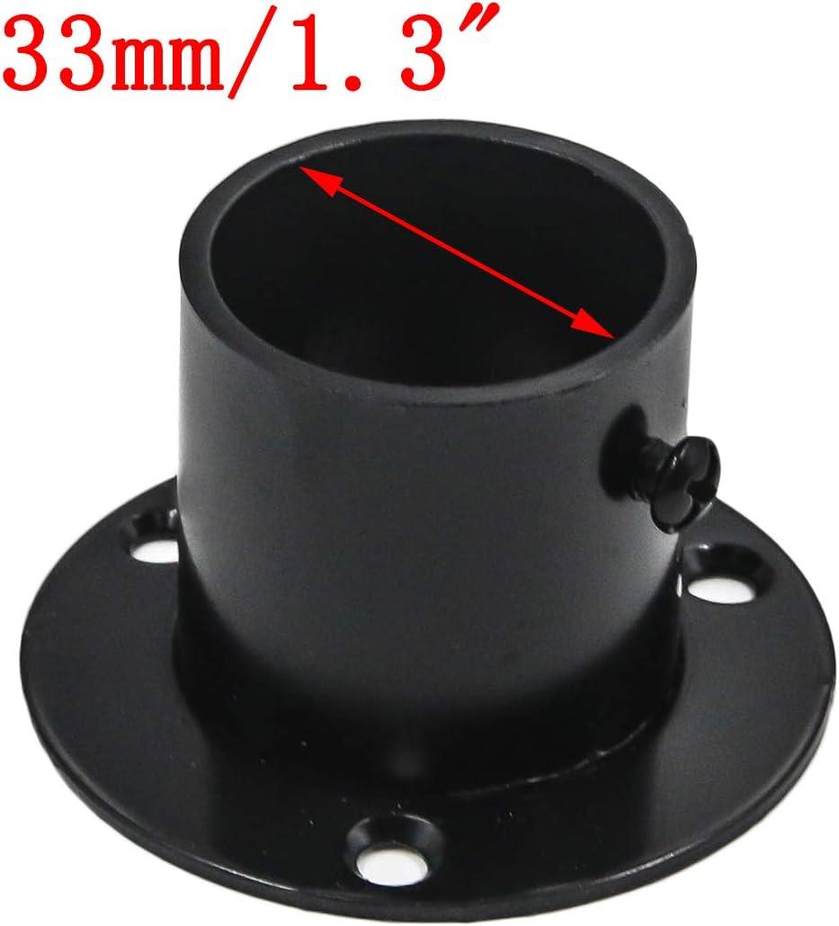 Pack of 4 1-1//4 Inch Dia Matte Black Antrader Stainless Steel Closet Rod Flange Holder Shower Socket Bracket Support