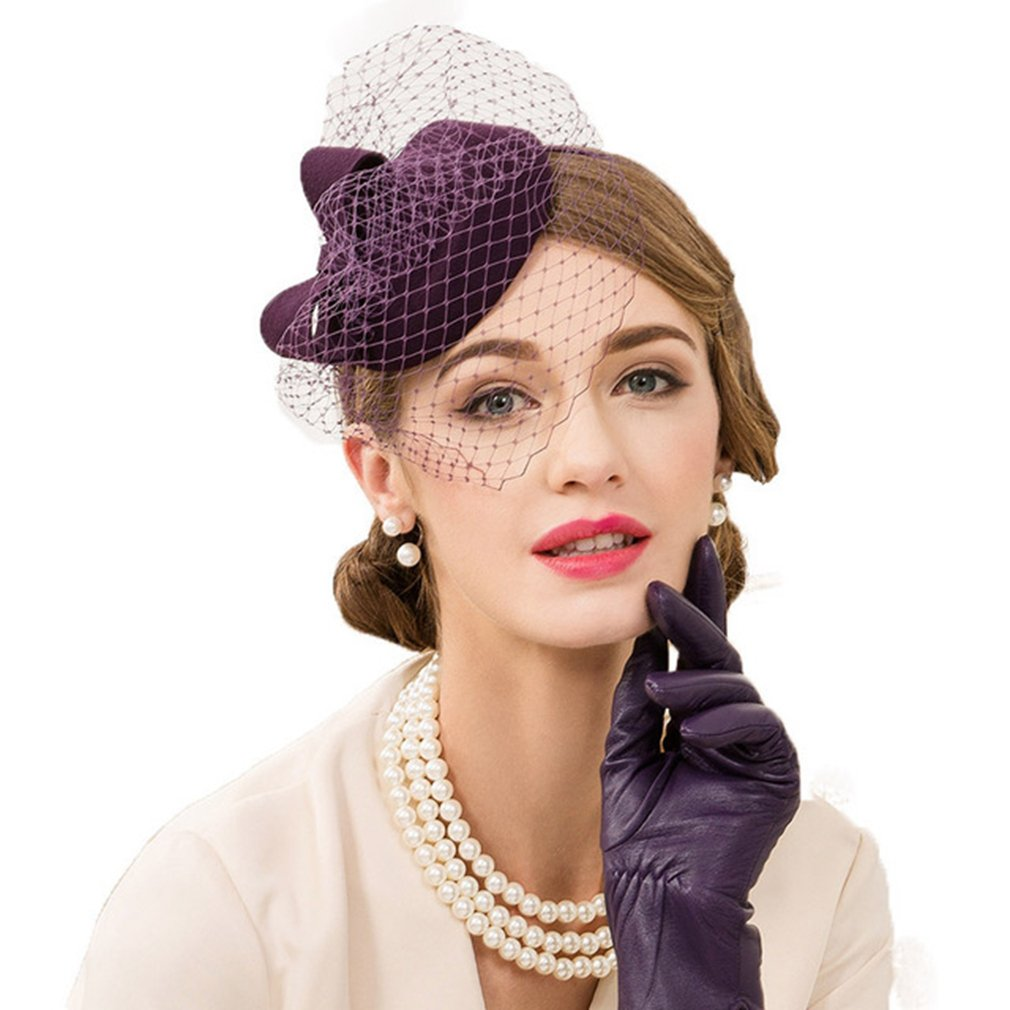 Vic Gray Fascinator Hats for Women,Purple Pillbox Hats with Veil Wedding Dress Fedoras