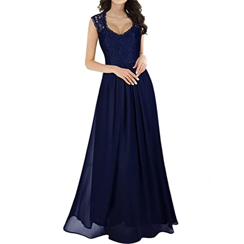 MIUSOL Womens V Neck Lace Ball Gown Long Chiffon Evening Dress