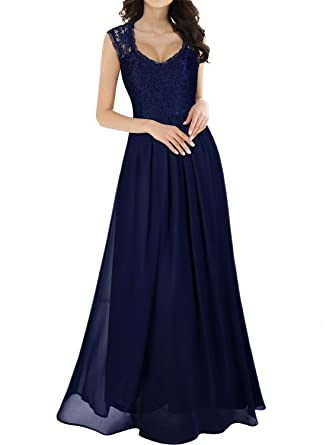5565b0657259 Miusol Women's Casual Deep- V Neck Sleeveless Vintage Maxi Dress (Small,  Navy Blue